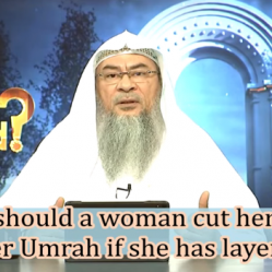 How should a woman cut her hair after Umrah if she has layers?
