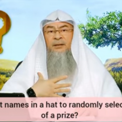 Can we put names in a hat to randomly select winners of a prize?