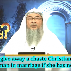 Who can give away a chaste Christian lady to Muslim Man in marriage if she has no family?