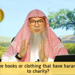Can we give in charity books or clothes that have haram drawings or images on them?