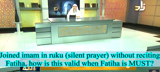 Joined imam in ruku(silent prayer) without reciting fateha, is it valid rakah when fateha is a must?