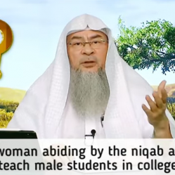 Can a woman abiding by the proper hijab and niqab teach male students?
