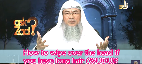 How to wipe over your head in wudu if you have long hair?