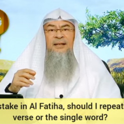 Made a mistake in Fateha or Tashahhud, should I repeat the whole Ayah or the single word