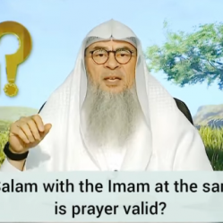 Offering salam with imam at the same time, is prayer valid? What about before imam?