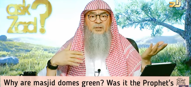 Why are masjid domes green, was green Prophet's favourite color?