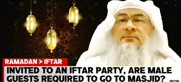 Invited to an Iftar Party, should the male guests go to the masjid or pray there?