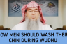 How should men wash their chin in wudu?