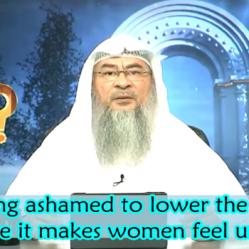 Feeling ashamed to lower the gaze when dealing with women