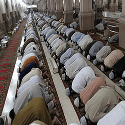 Multiple Congregations in the Same Mosque because of Limited Space